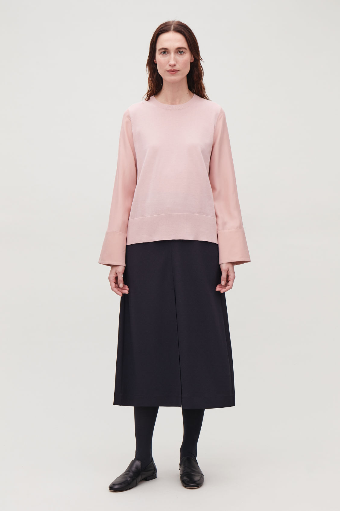 Model front image of Cos silk-sleeved cotton-knit top in pink