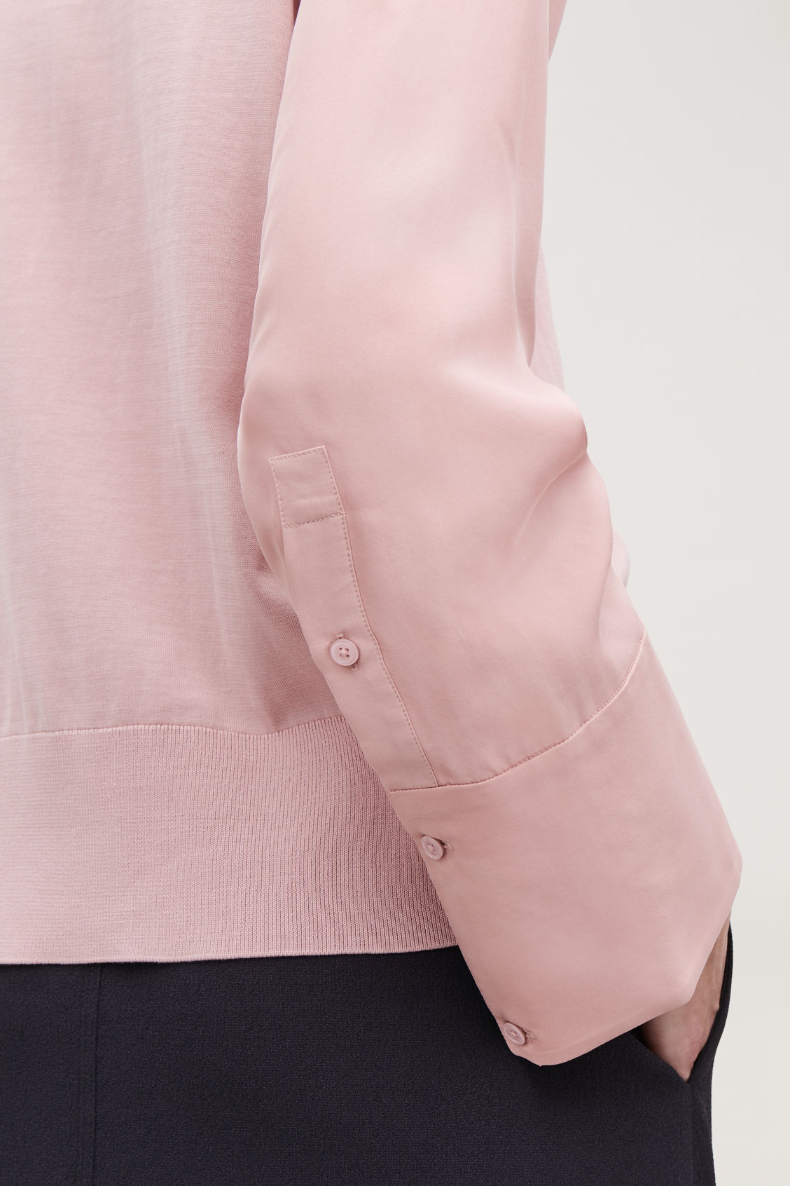 Model side image of Cos silk-sleeved cotton-knit top in pink