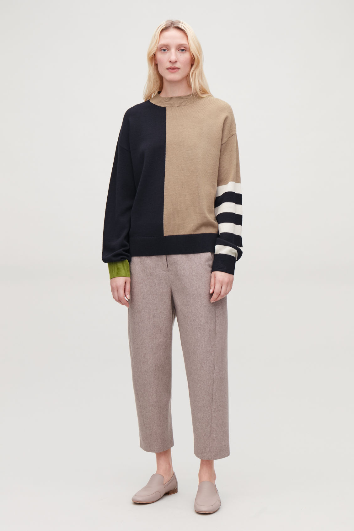Model front image of Cos colour-block wool jumper in beige