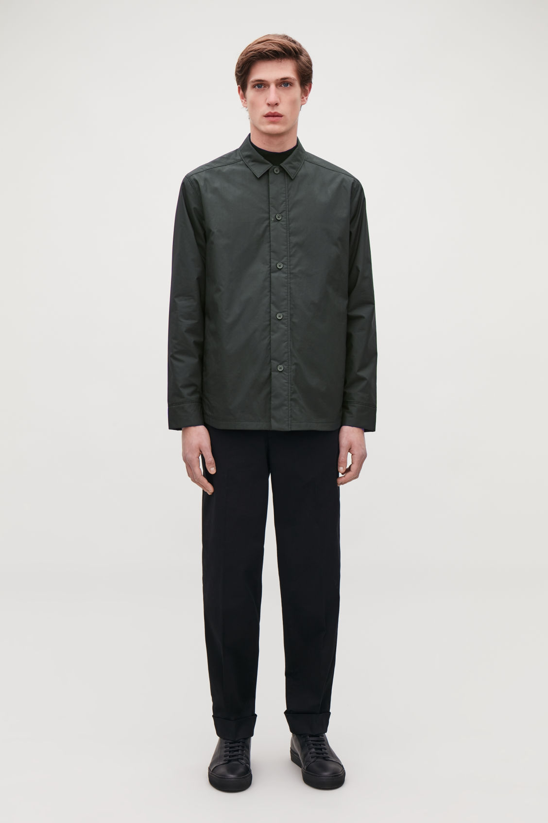 Model front image of Cos padded long-sleeved shirt in black