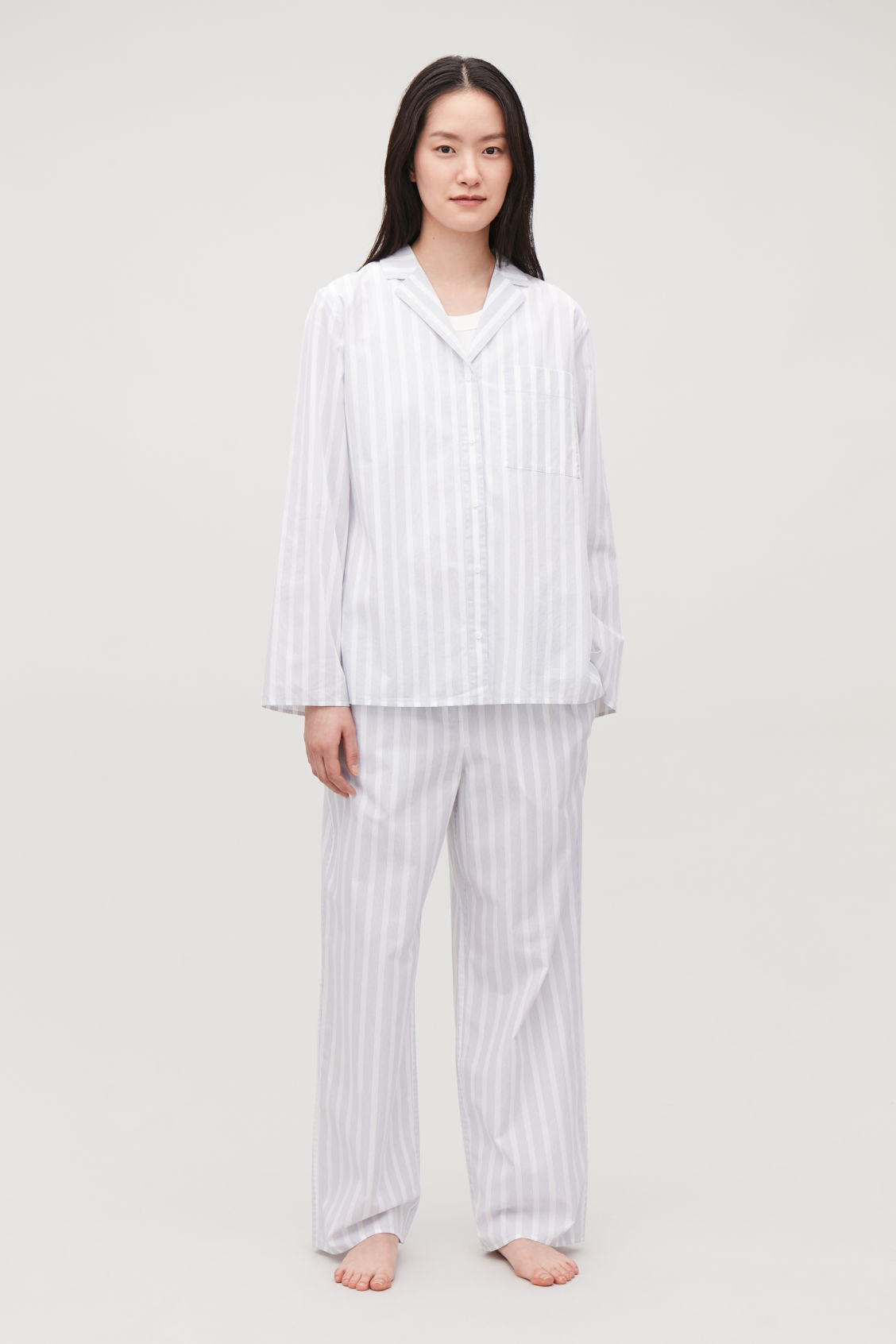 Model front image of Cos lapel-collar striped pyjama shirt in white