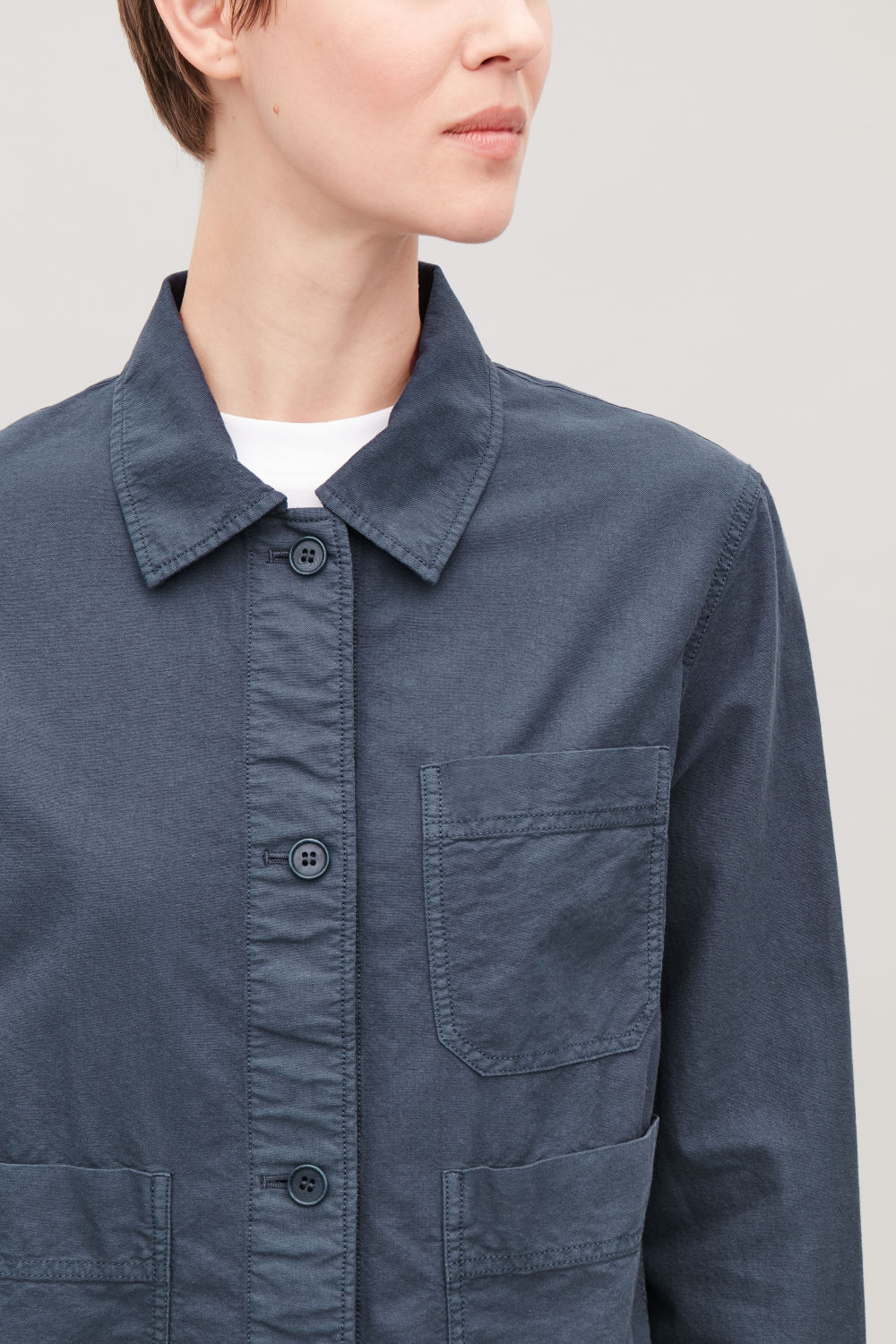 TOPSTITCHED SHIRT JACKET