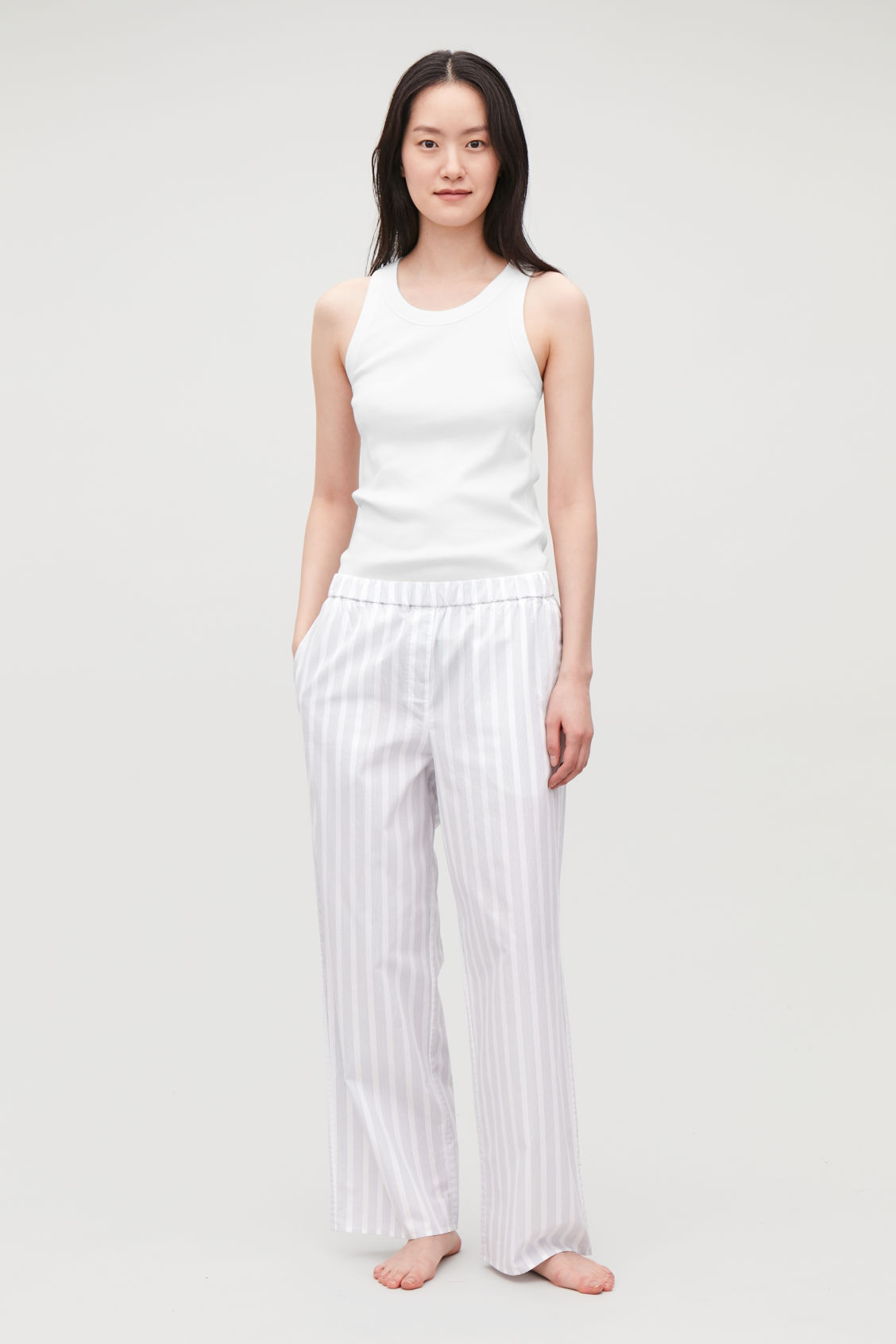 Model front image of Cos striped pyjama trousers in white