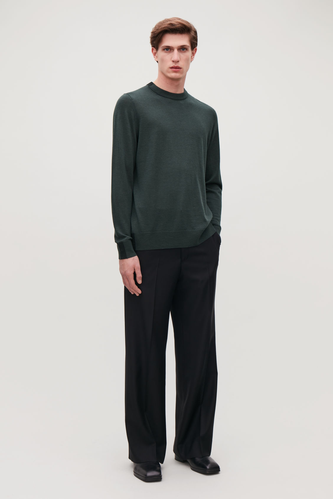 Model front image of Cos merino jumper with trim detail in green