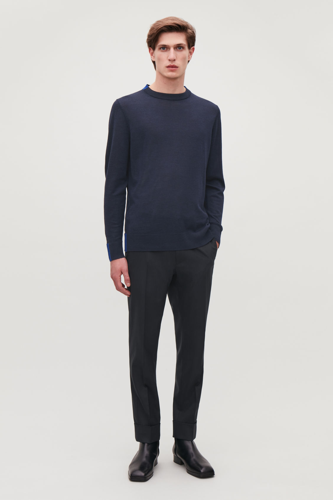Model front image of Cos merino jumper with trim detail in blue