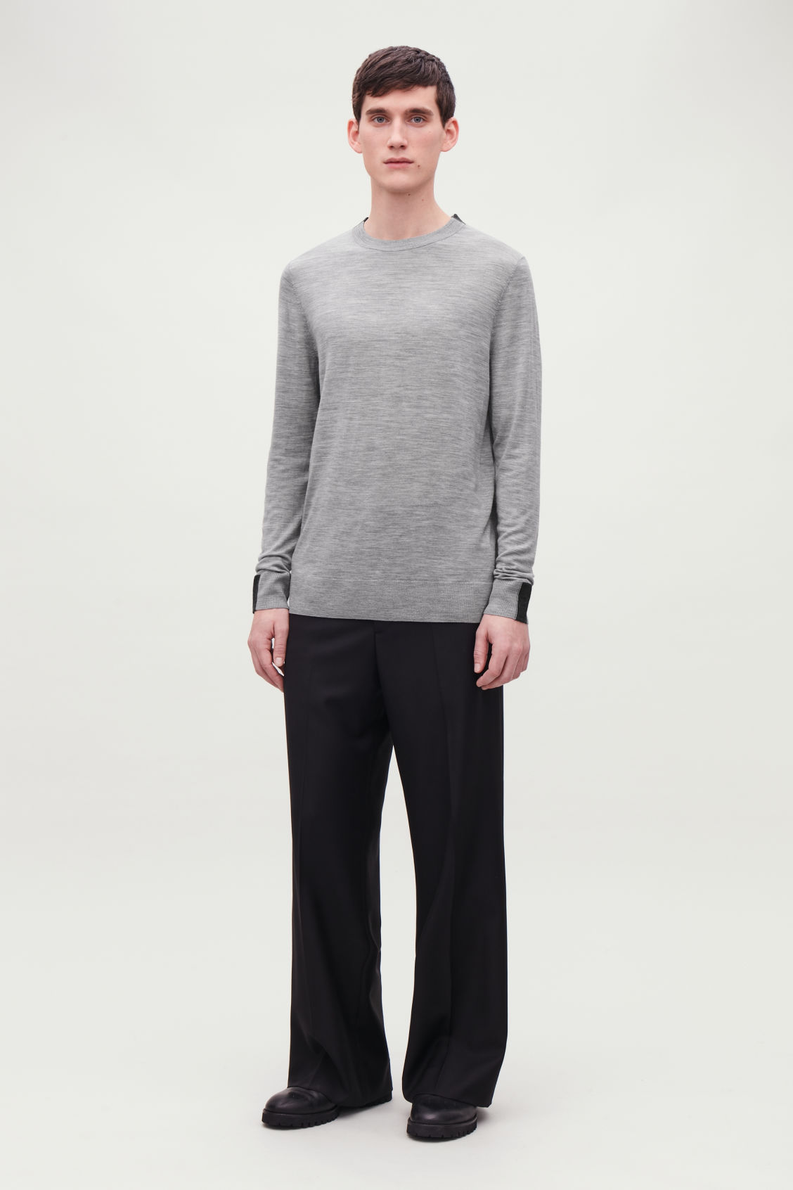 Model front image of Cos merino jumper with trim detail in grey