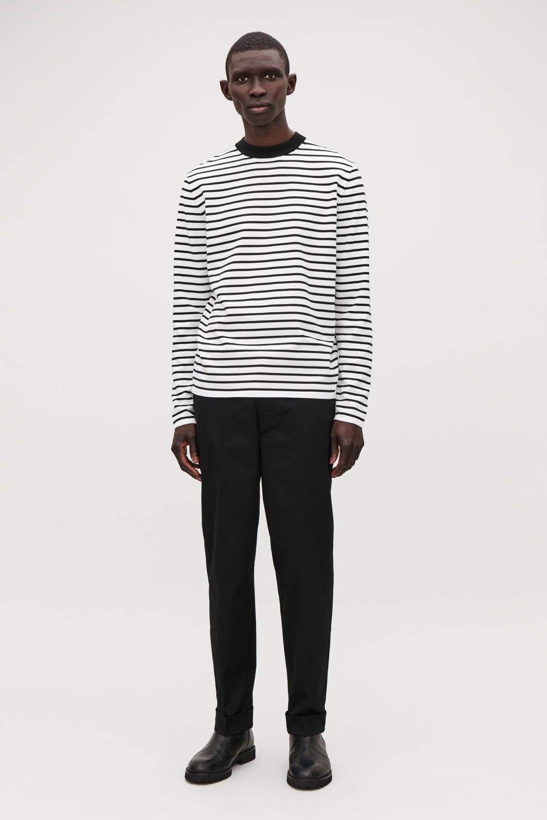 Model front image of Cos striped cotton crew-neck jumper in white