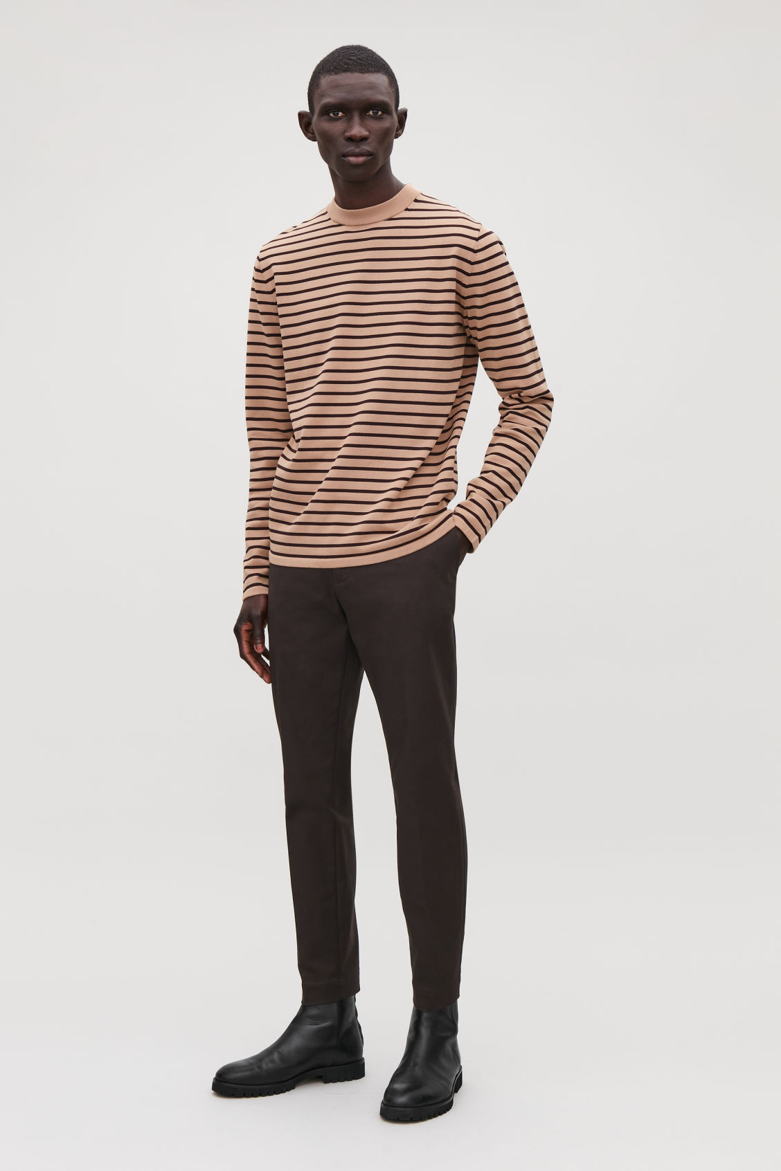 Model front image of Cos striped cotton crew-neck jumper in orange