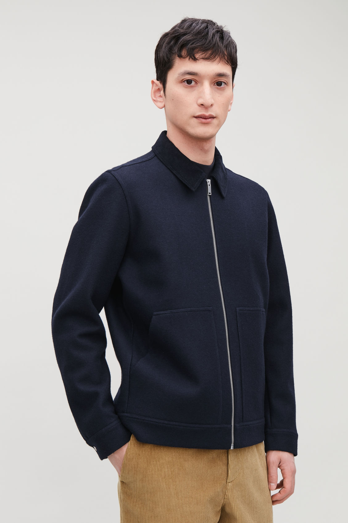 Model side image of Cos corduroy-collar wool jacket in blue