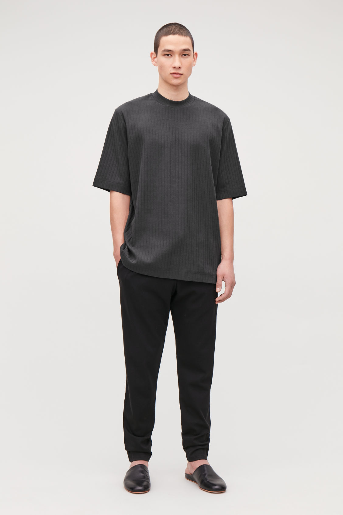 Model front image of Cos long organic-cotton rib t-shirt in black