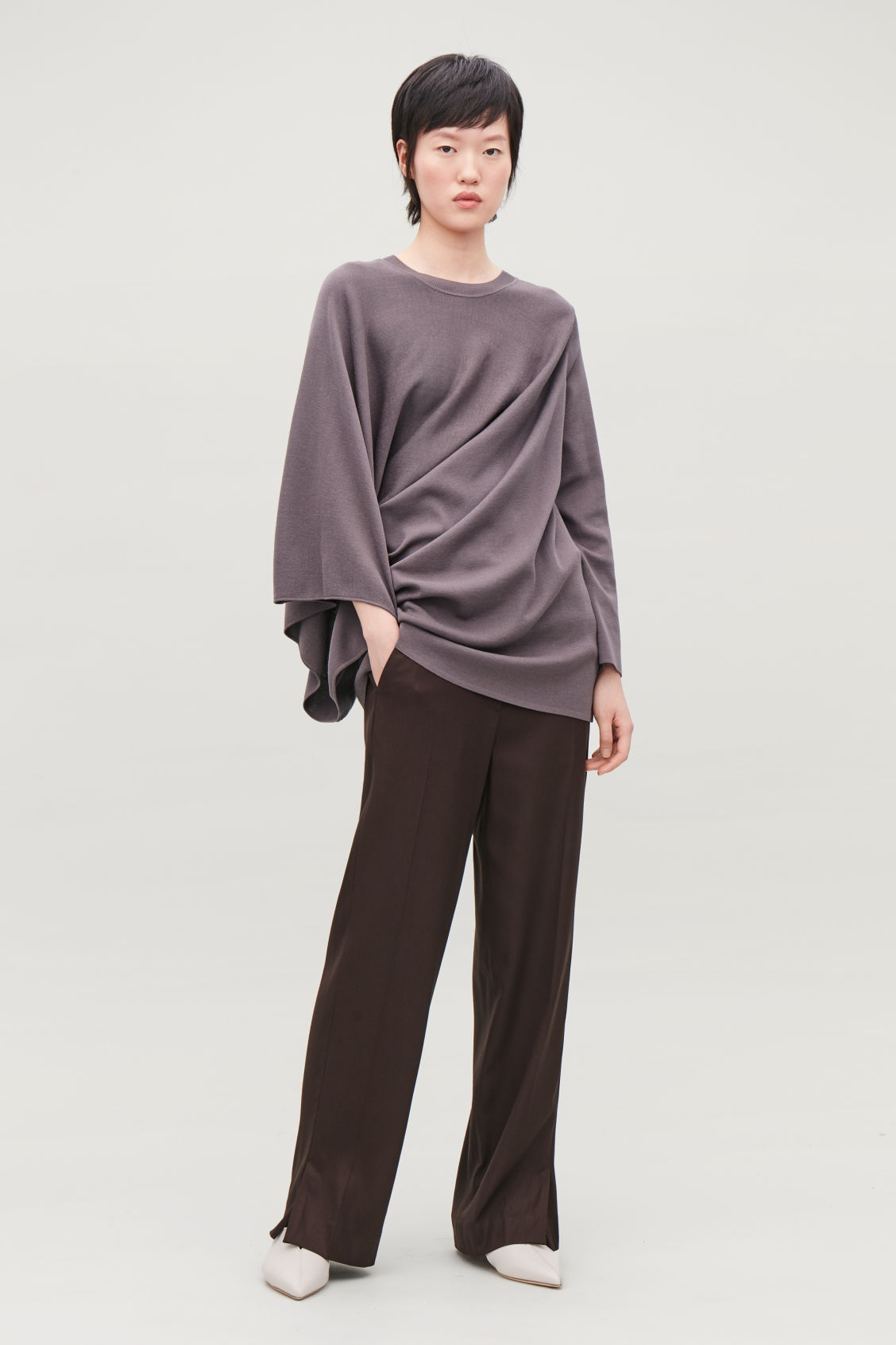 Model front image of Cos asymmetric drape-knit top  in purple