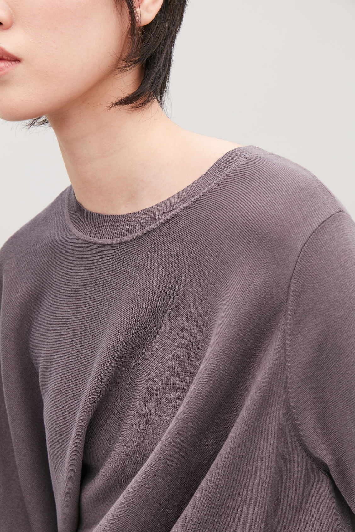 Model side image of Cos asymmetric drape-knit top  in purple