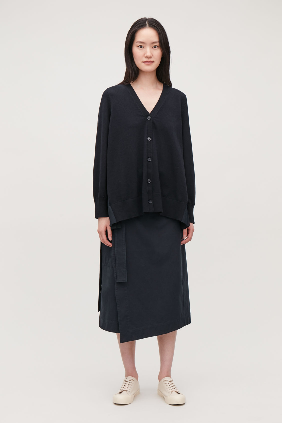 Model front image of Cos pleated-panelled cardigan in blue