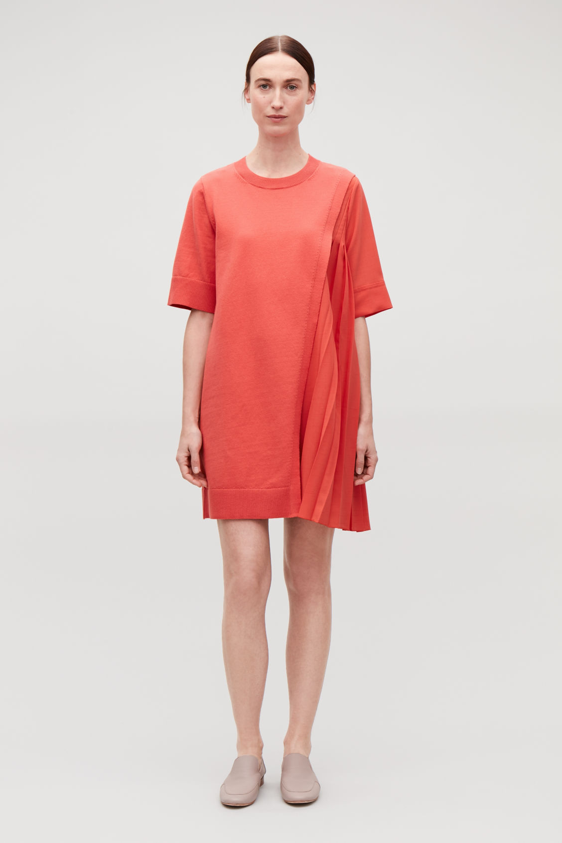 Model front image of Cos pleated-panelled knit dress in orange