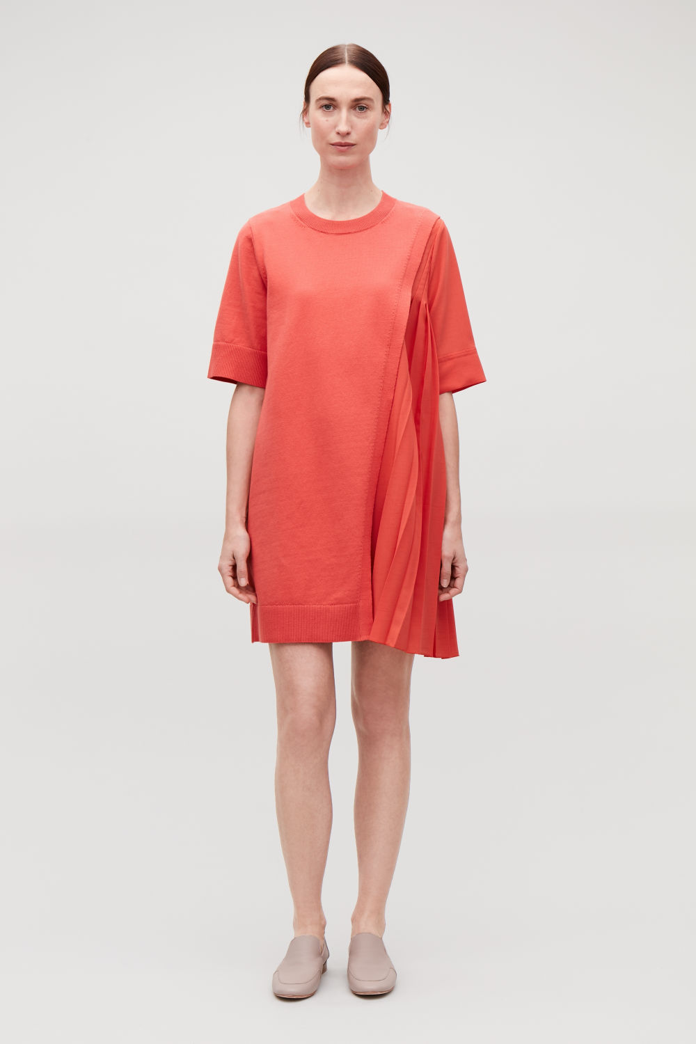 PLEATED-PANELLED KNIT DRESS