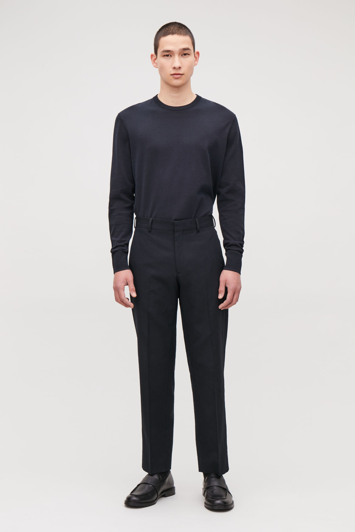 Model front image of Cos straight-leg seersucker trousers  in blue