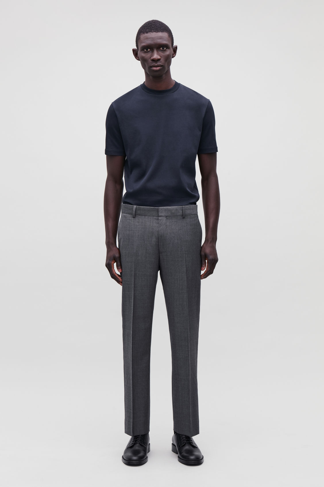 Model front image of Cos slim-fit tailored trousers  in grey