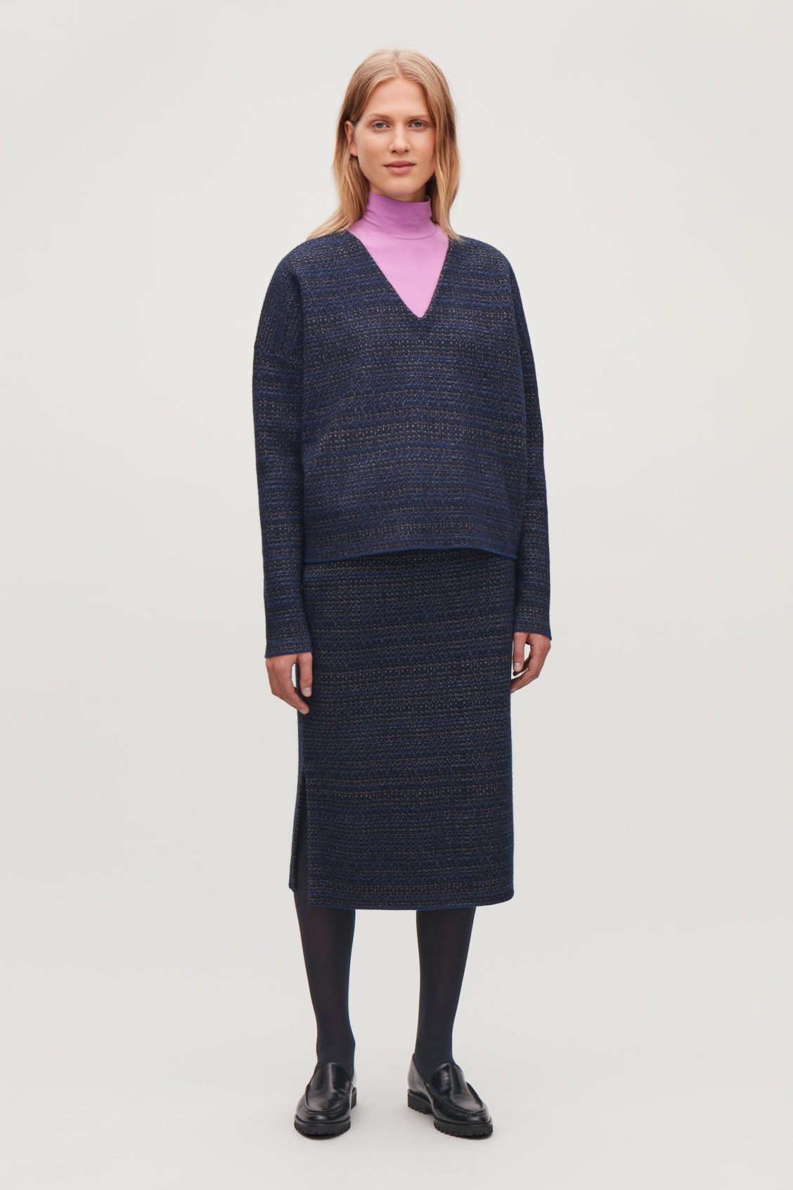 Model front image of Cos jacquard boiled-wool jumper in blue