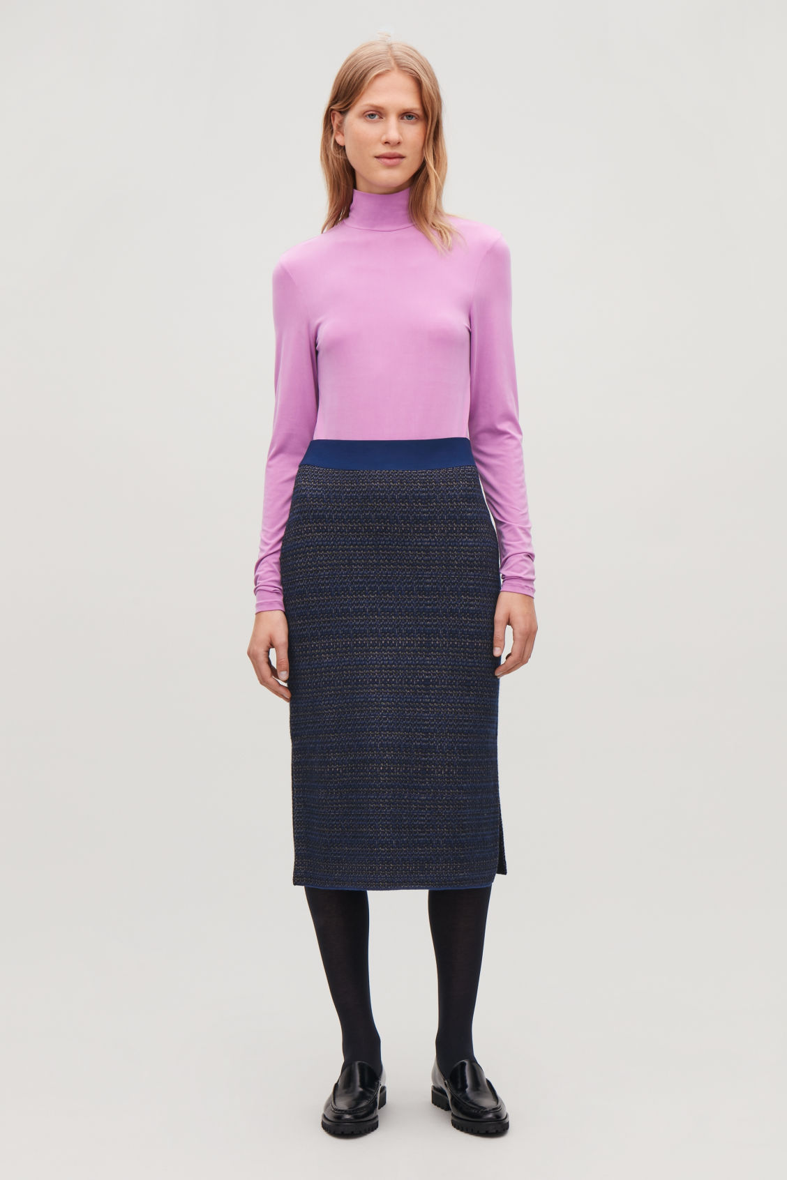 Model front image of Cos jacquard boiled-wool knit skirt in blue
