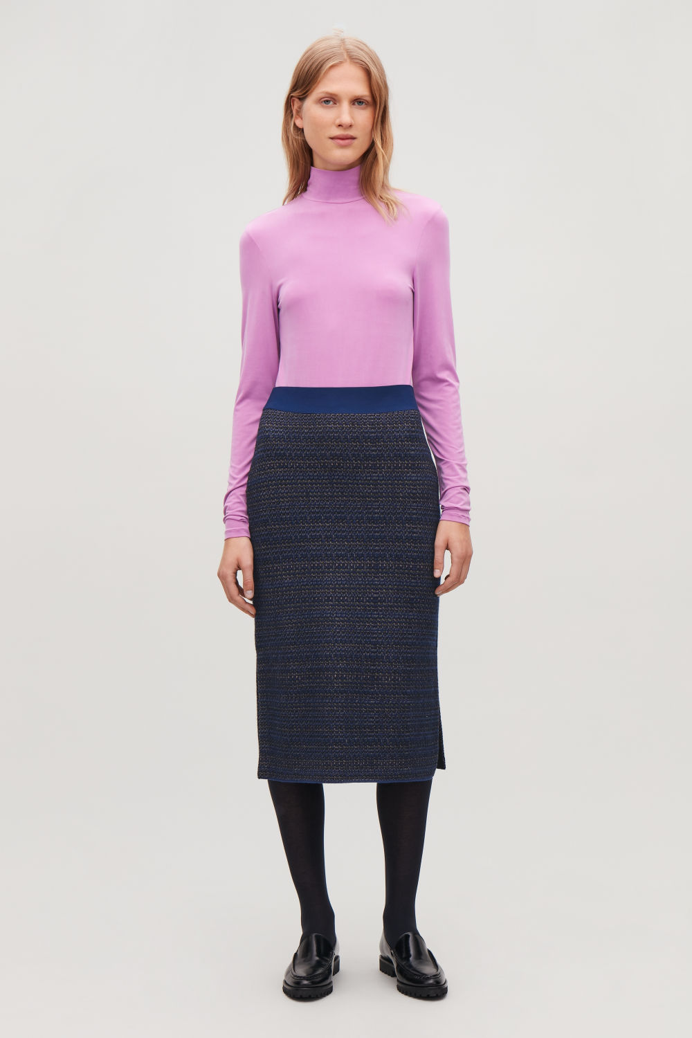JACQUARD BOILED-WOOL KNIT SKIRT