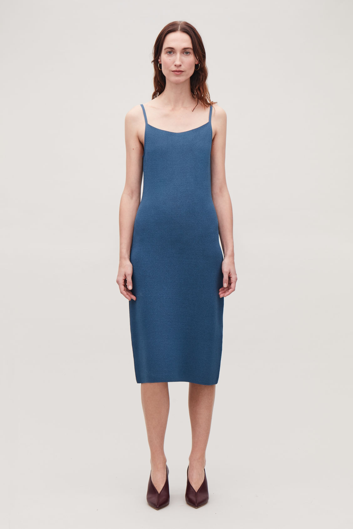 Model side image of Cos textured metallic slip dress in blue