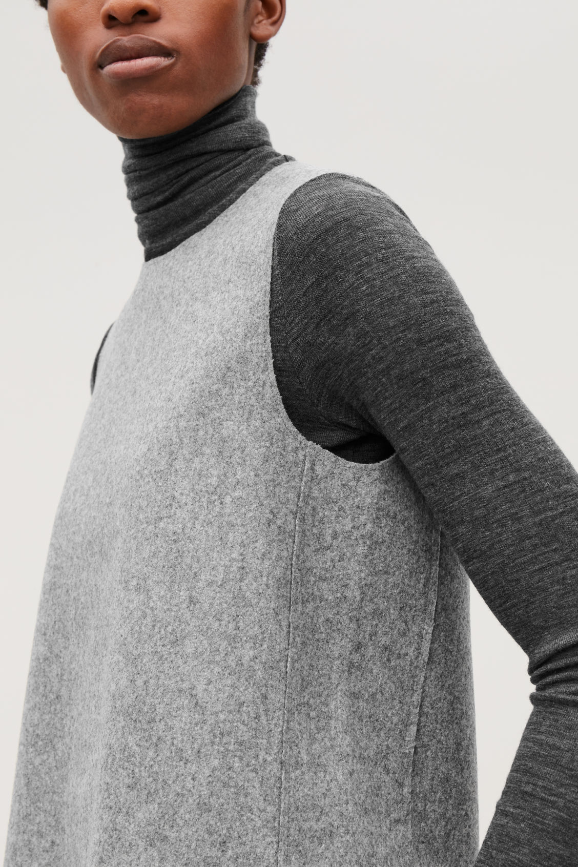 Coats Wool And Cos Vest Top Melange Grey Jackets Light Boxy 5jL3R4A