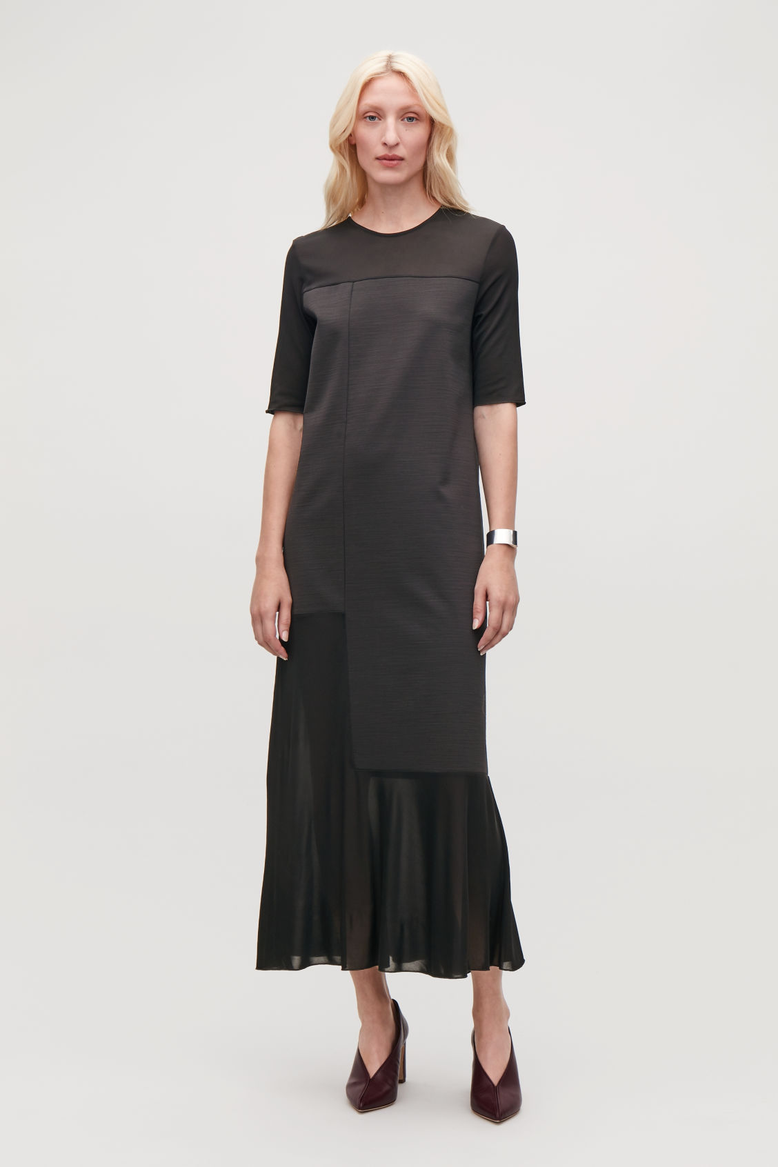 Model front image of Cos sheer-panelled long dress in black