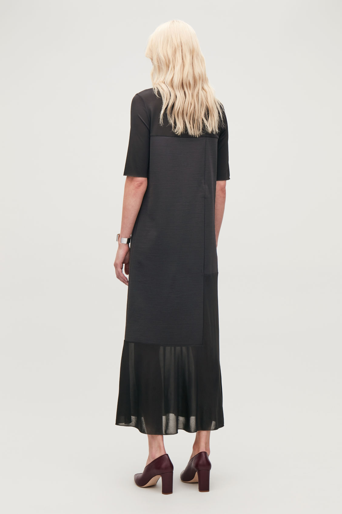 Model side image of Cos sheer-panelled long dress in black