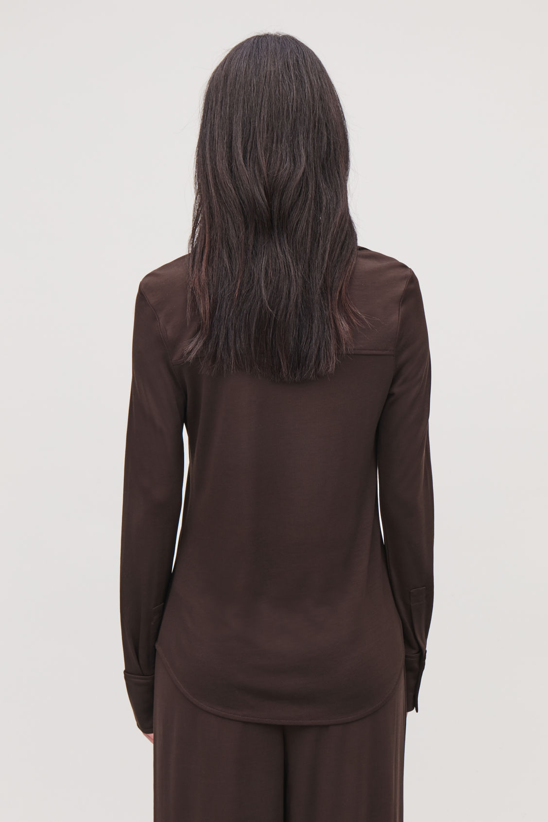 Model side image of Cos open-collar jersey shirt in brown