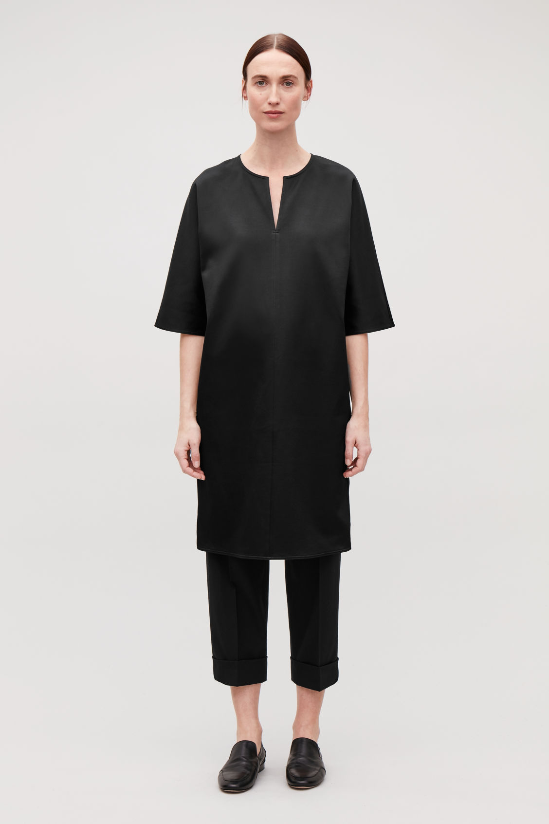 Model front image of Cos batwing-sleeved jersey dress  in black