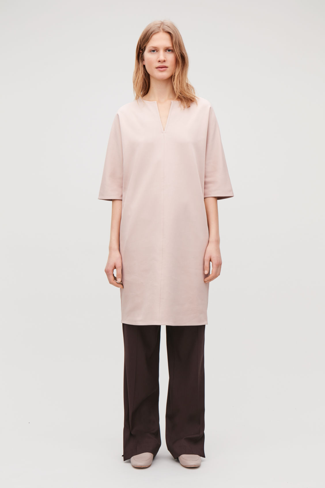 Model front image of Cos batwing-sleeved jersey dress  in brown