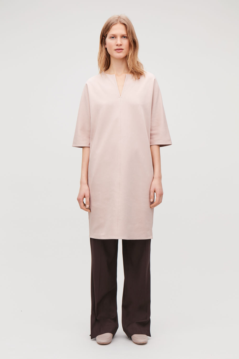 BATWING-SLEEVED JERSEY DRESS