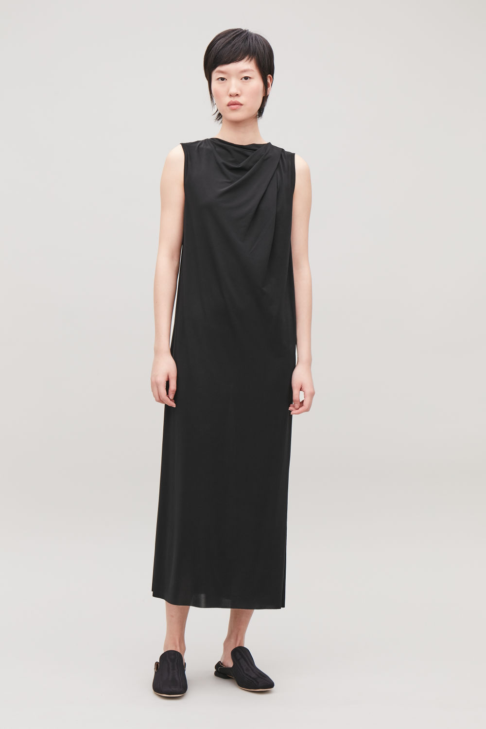 TWIST-FRONT LONG JERSEY DRESS ... 9b7ec4cb9