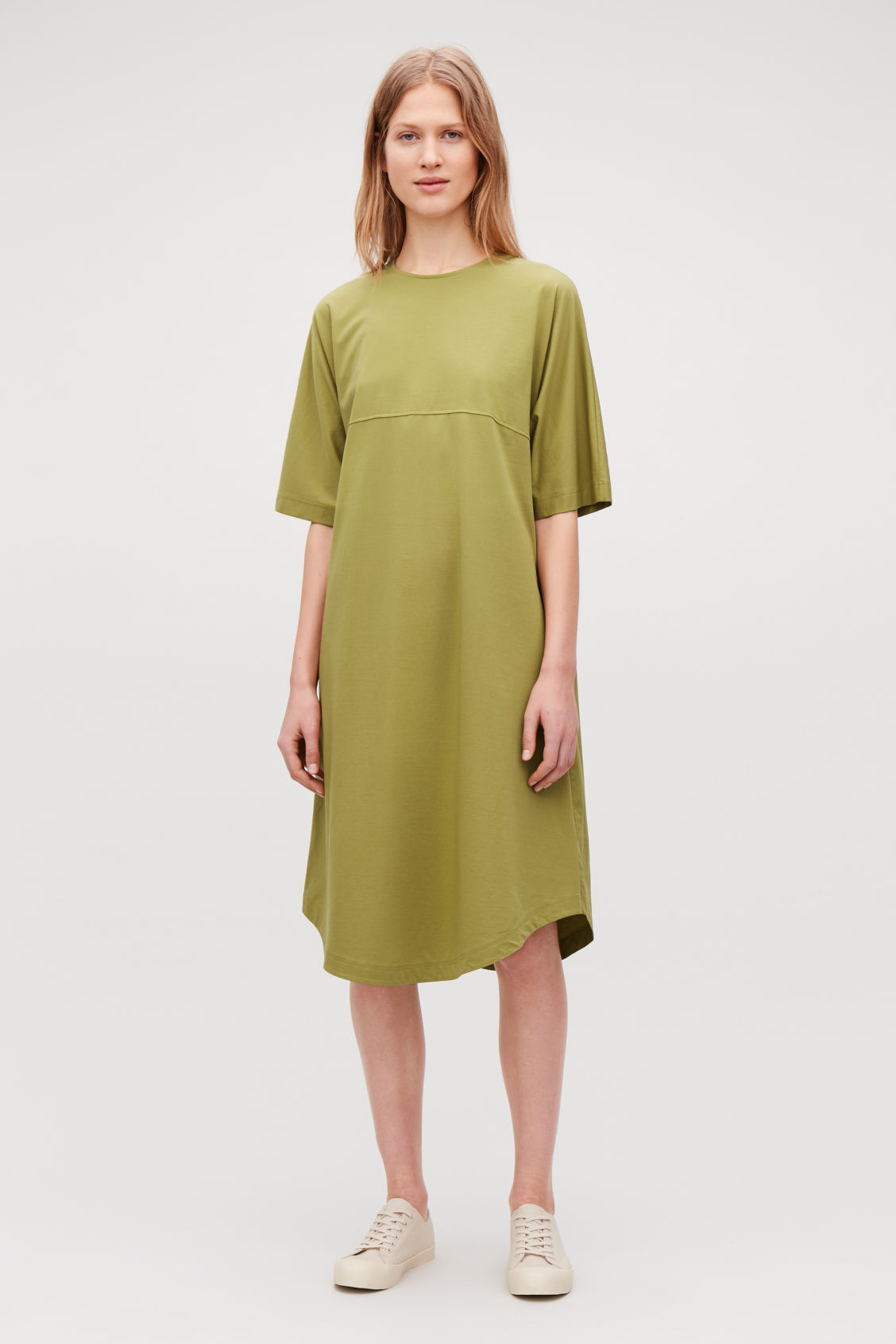bf35d631d5 Model front image of Cos woven-panelled a-line jersey dress in yellow