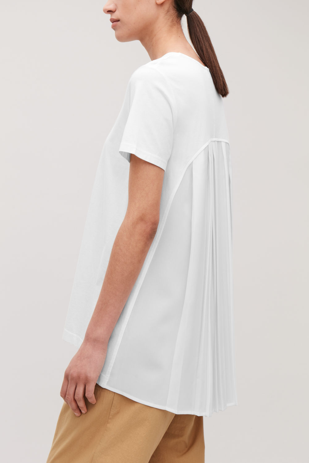 WOVEN-BACK PLEATED T-SHIRT ... 4703f1a0f