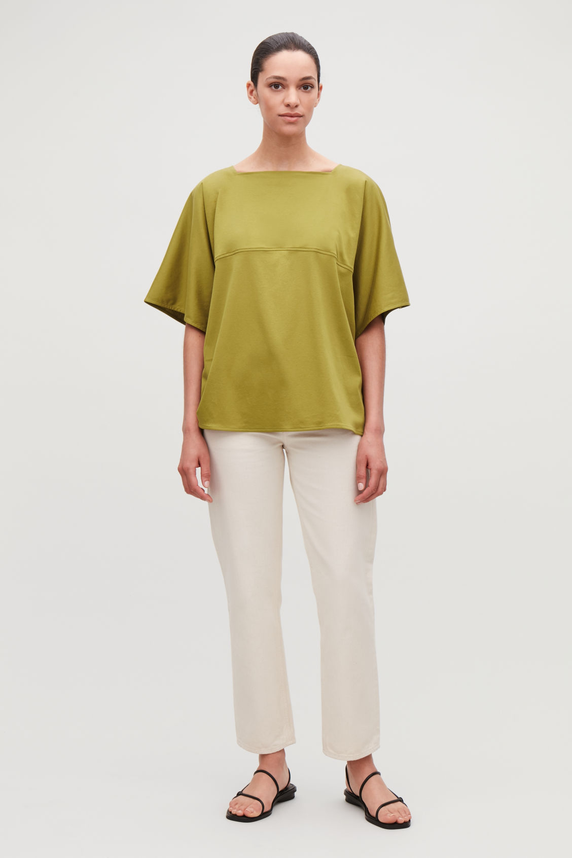 Model front image of Cos square-neck jersey top in yellow