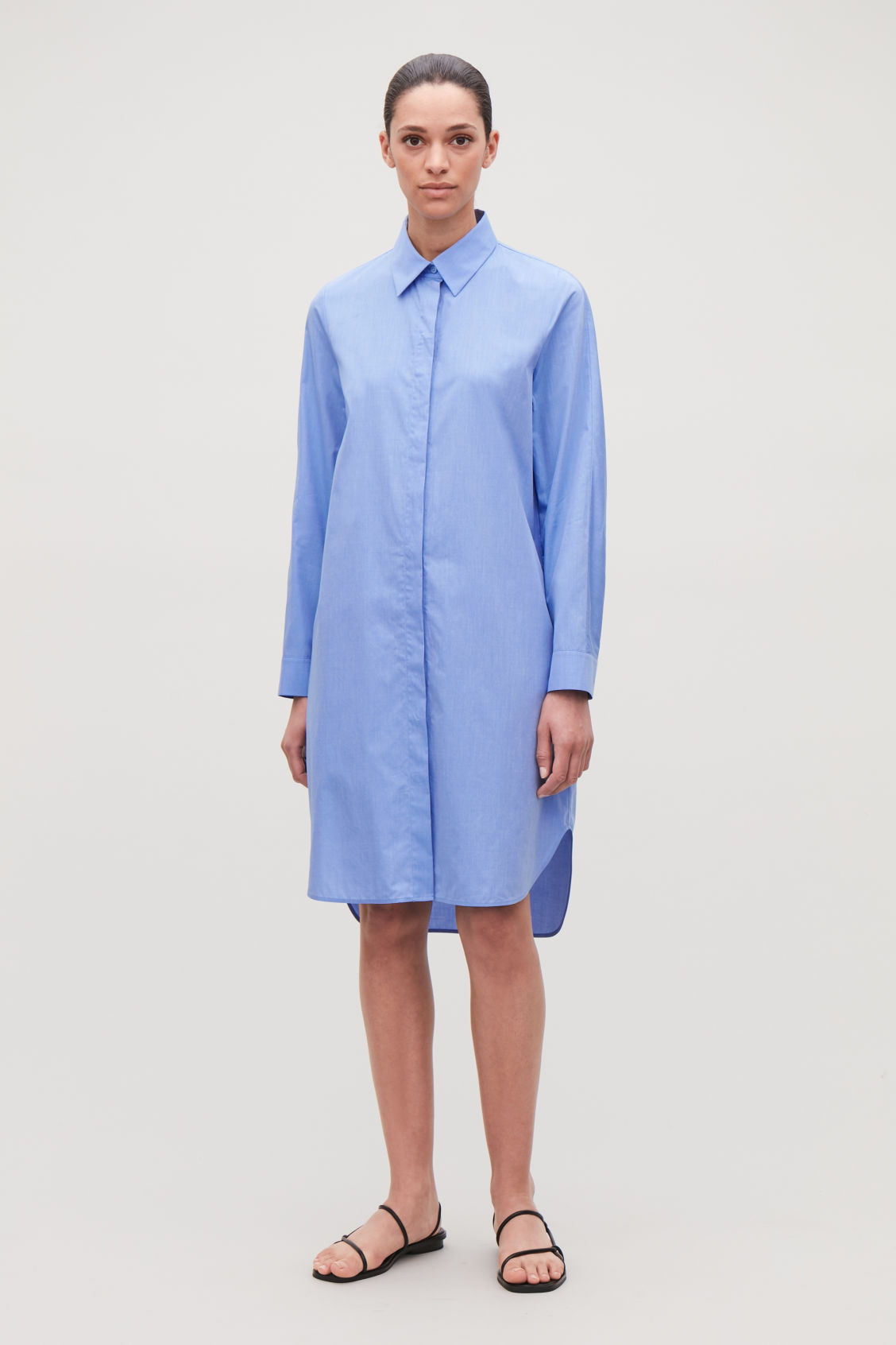 Model front image of Cos  fil-a-fil cotton shirt dress in blue