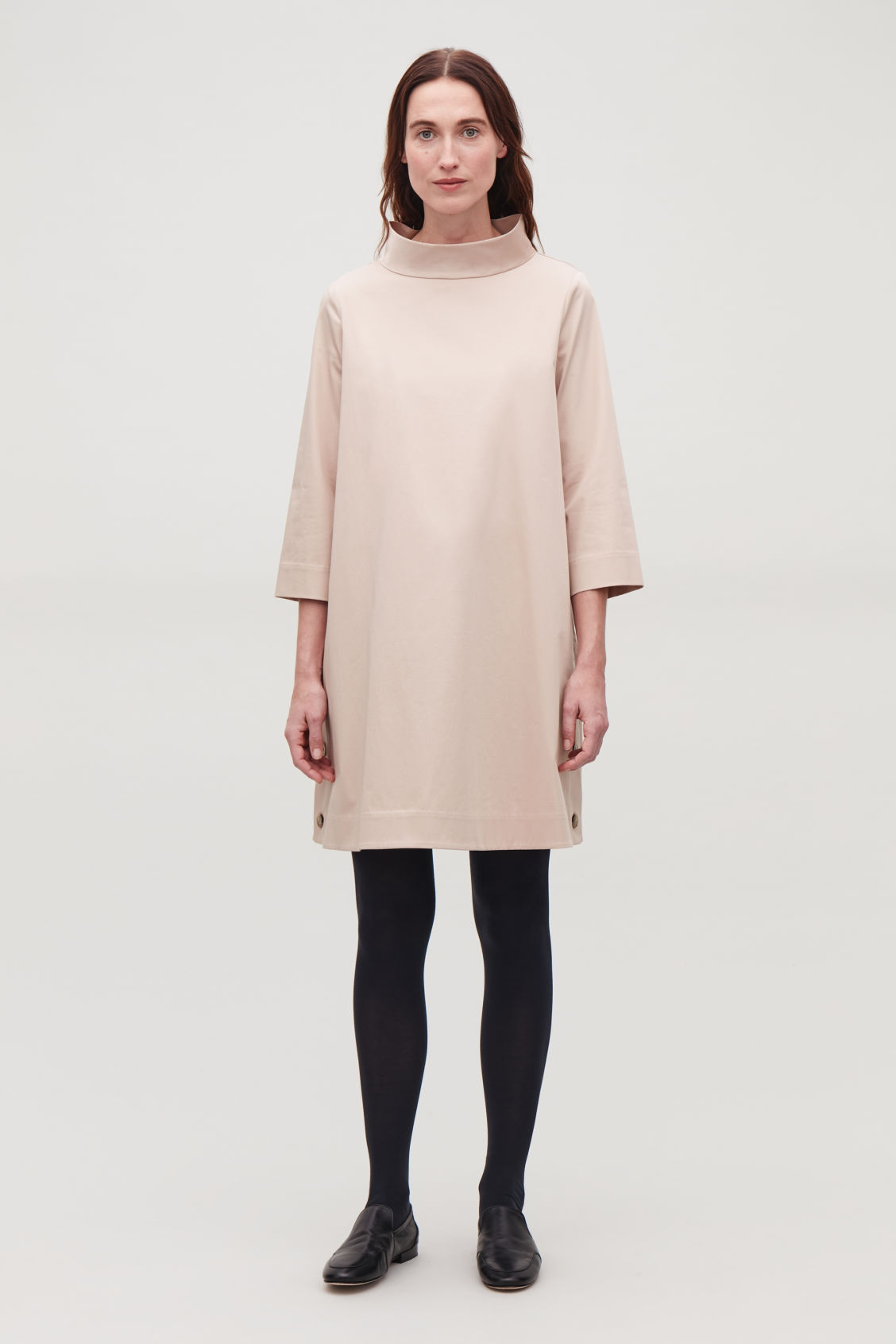 Model front image of Cos side-buttoned a-line dress in brown