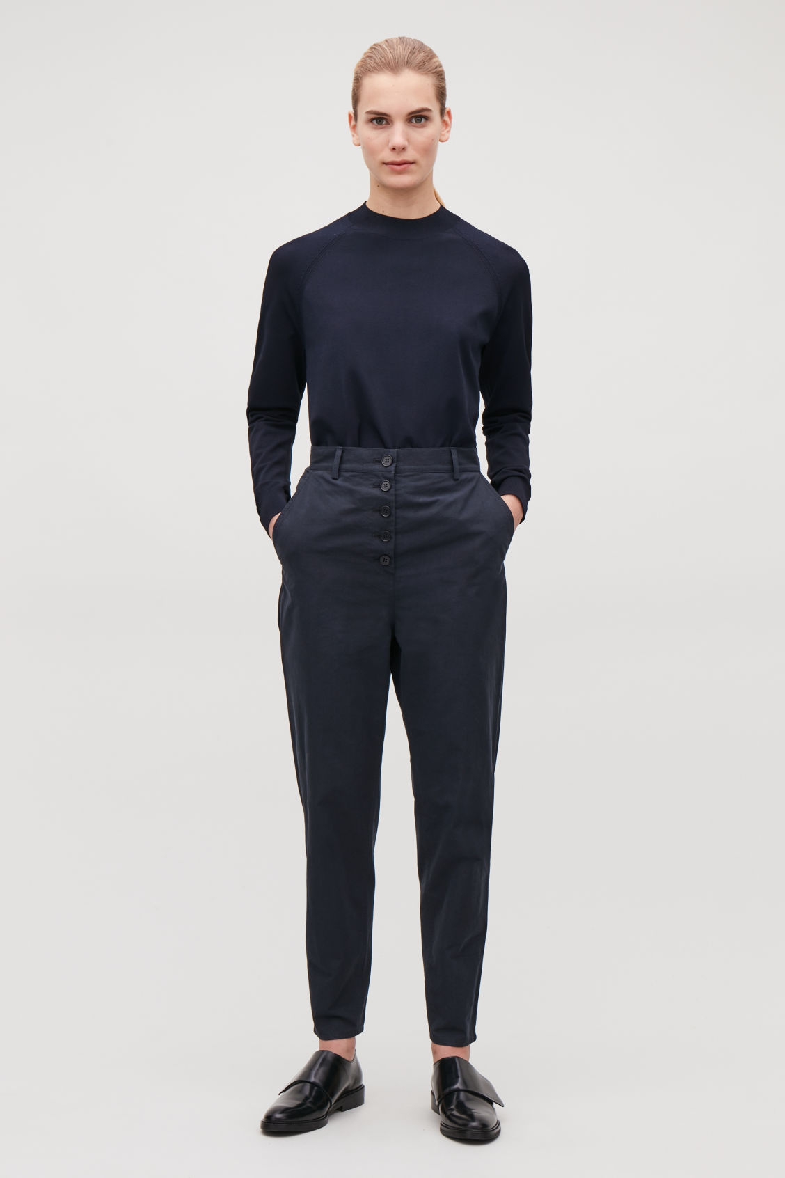 Model front image of Cos button-up cotton chinos in blue