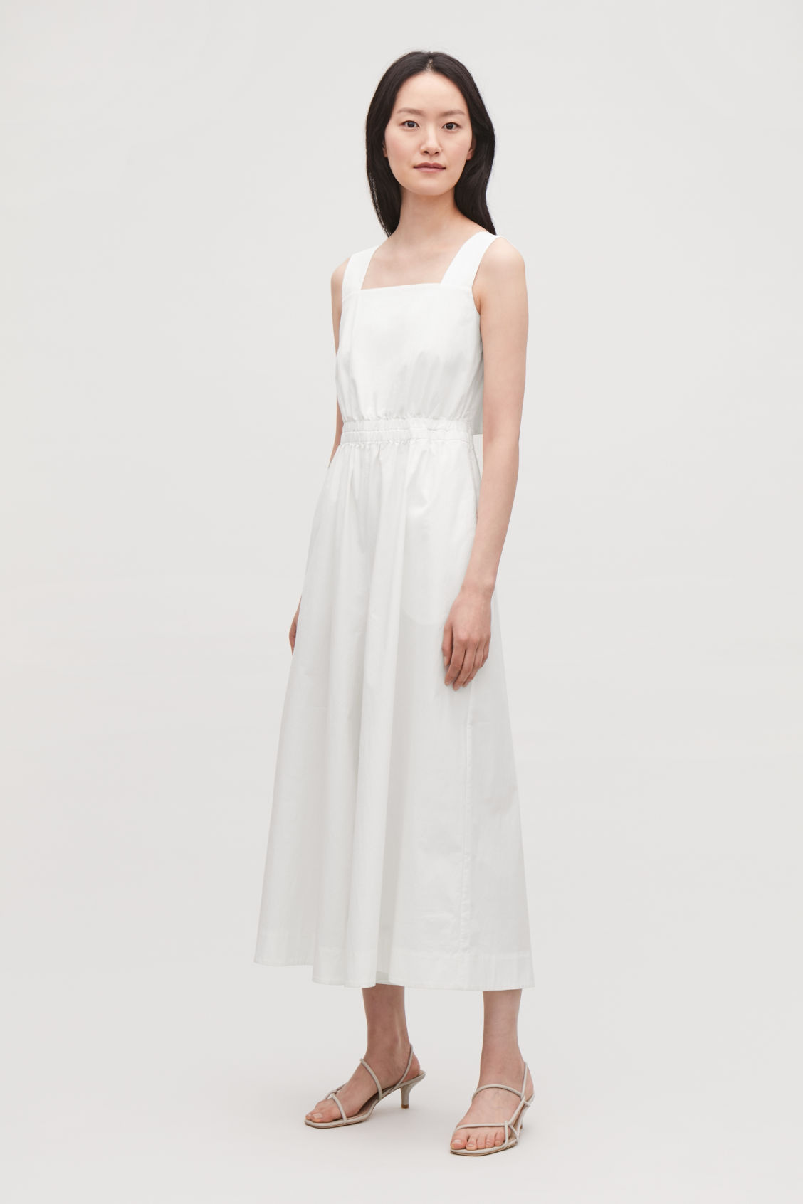 Model front image of Cos wide-leg cotton jumpsuit  in white