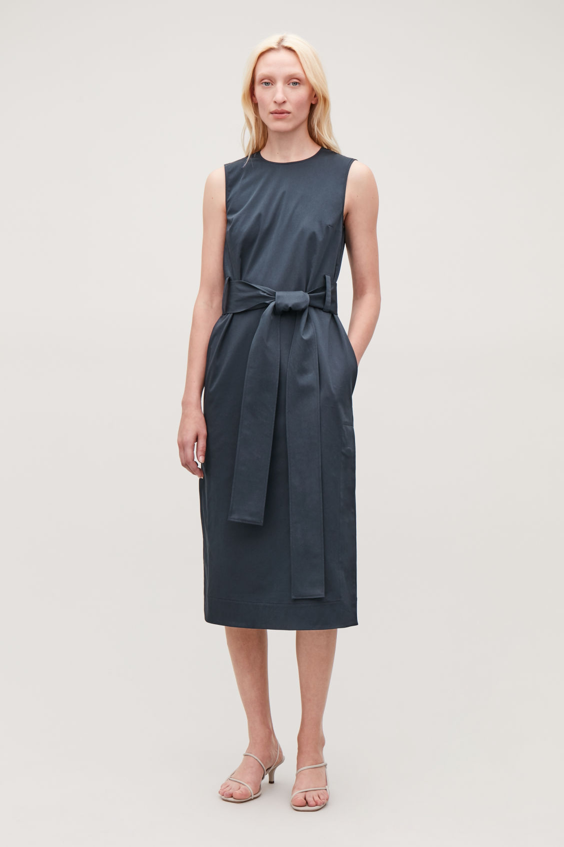 Model front image of Cos belted sleeveless dress in blue