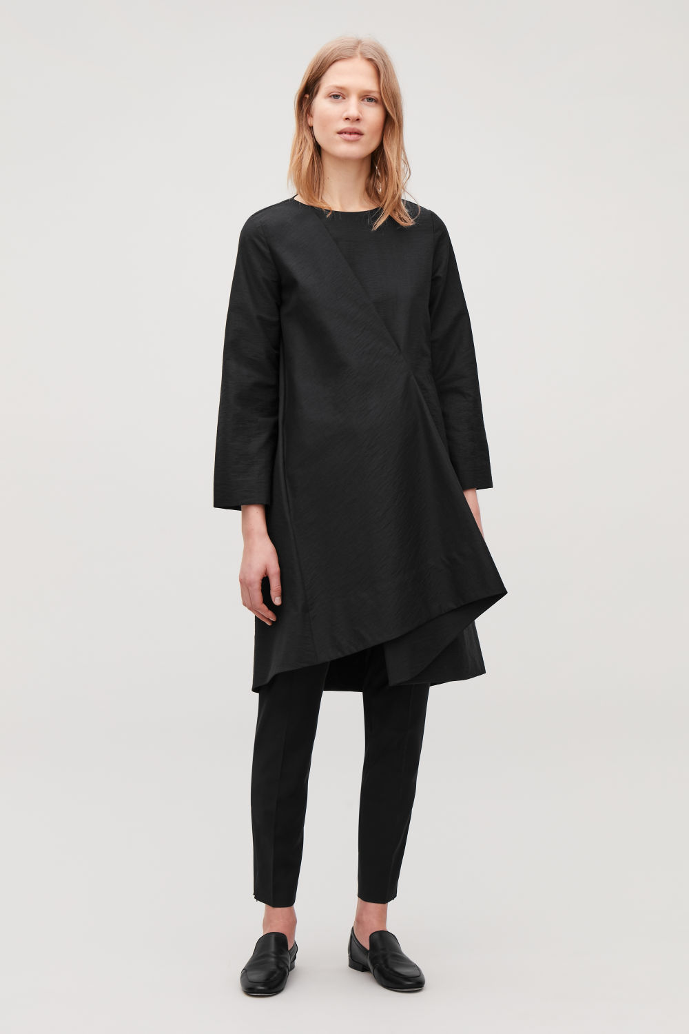 ASYMMETRIC-PLEAT DRESS