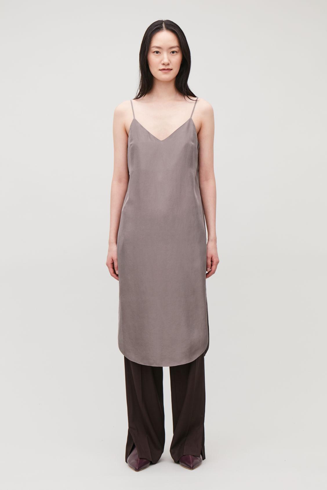 f1afe4f23b4af7 Model front image of Cos silk slip dress in purple