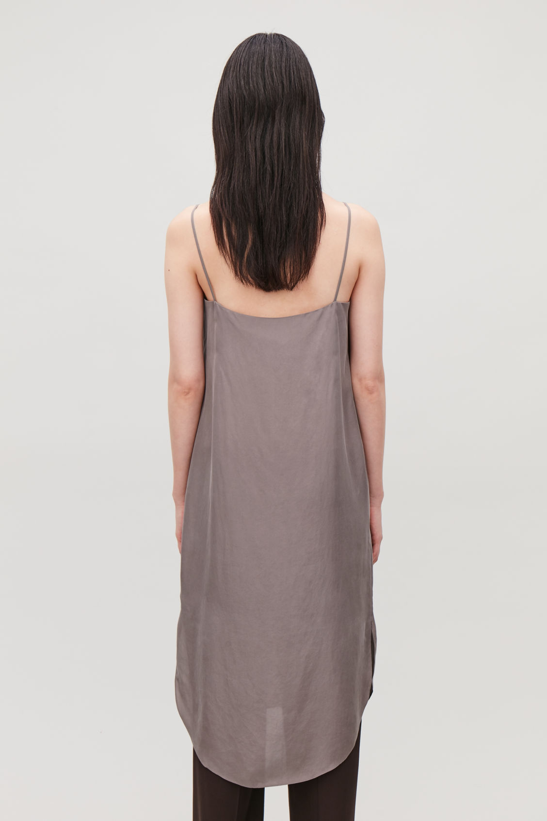 Model side image of Cos silk slip dress in purple