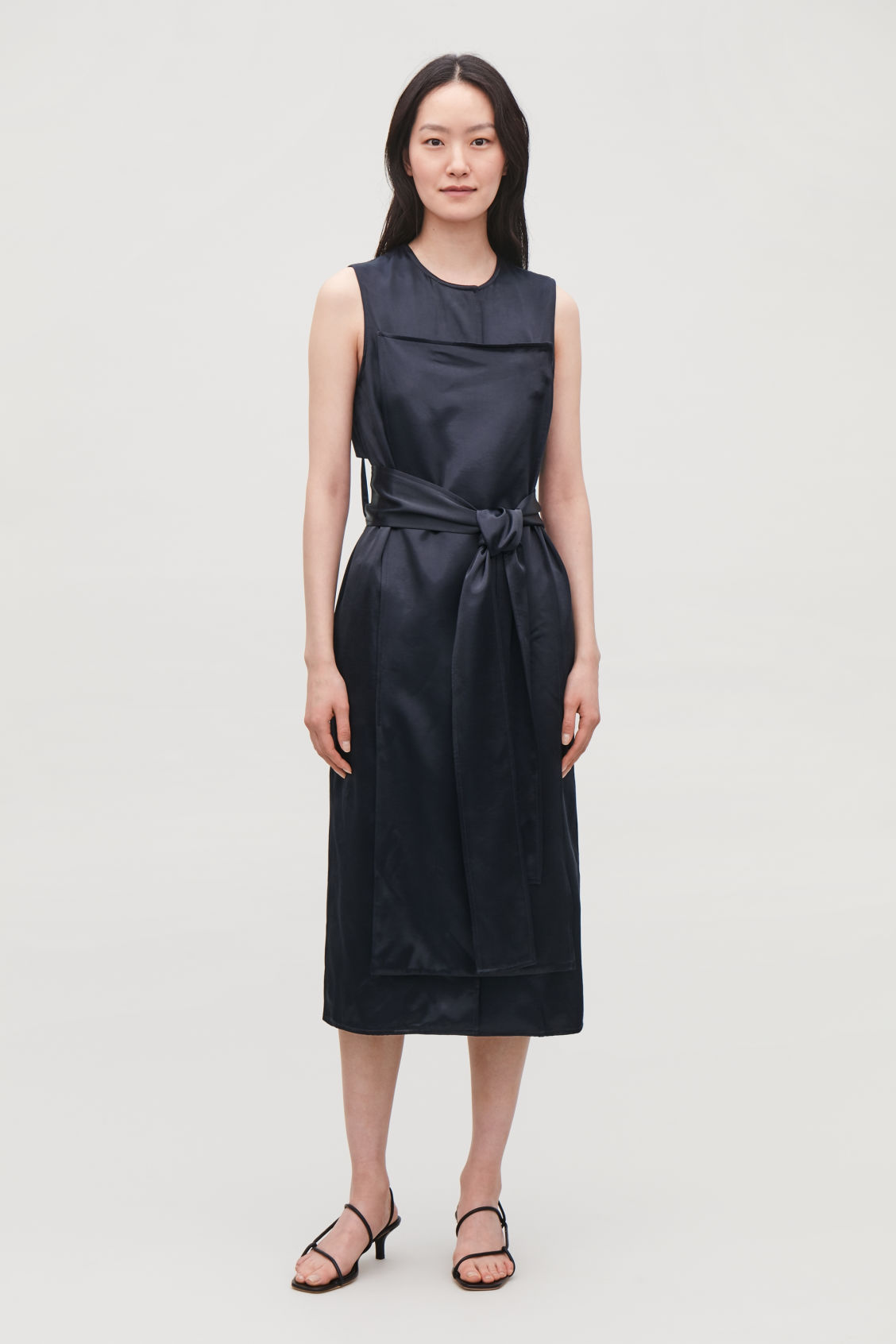 Model front image of Cos trench-detail smooth sleeveless dress in blue