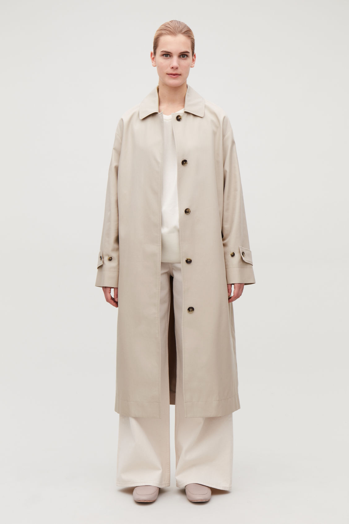 Model front image of Cos organic-cotton trench coat  in beige