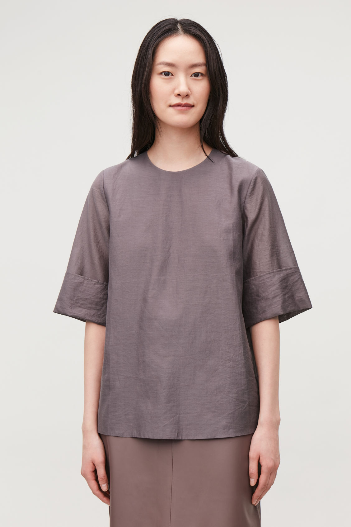 Model side image of Cos overlap-back cotton-silk top in purple