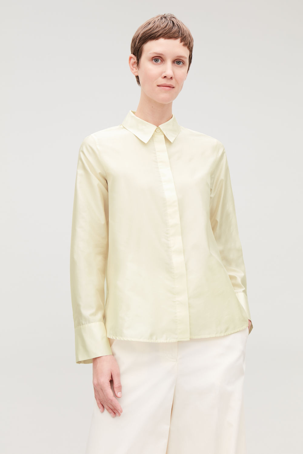 SILK-BLEND SHIRT WITH BOX PLEATS ... c2ce97ce9