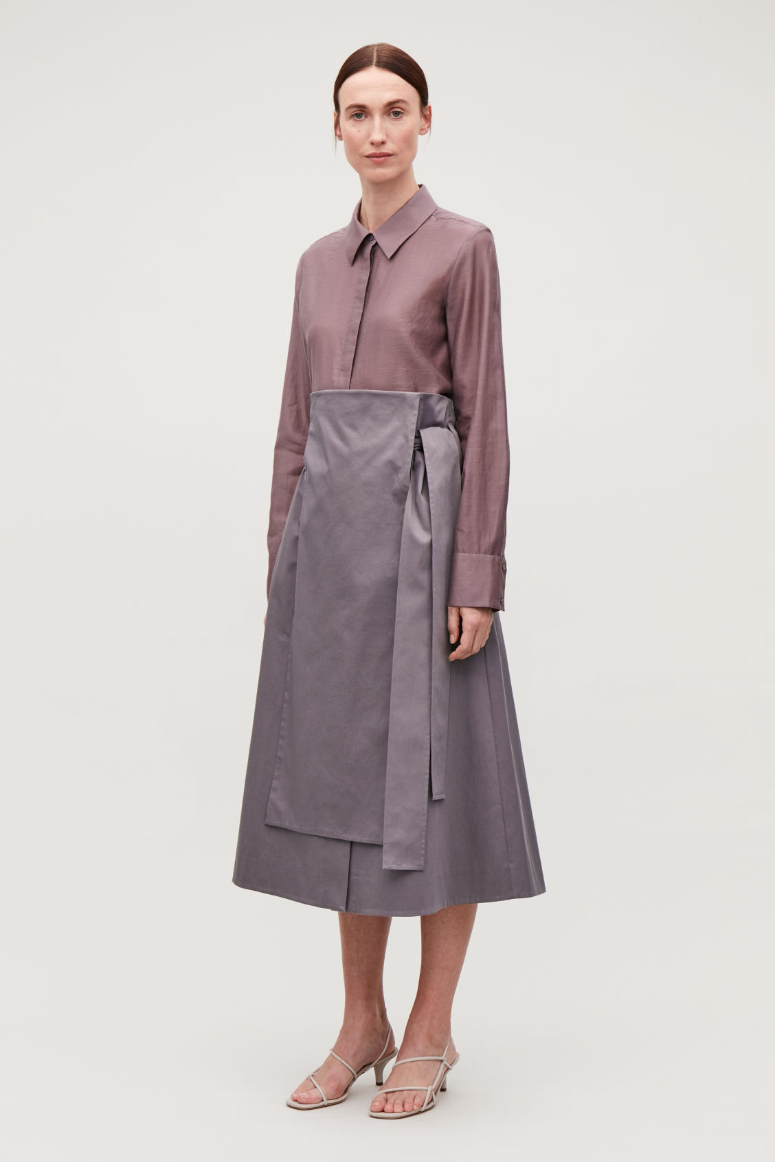 Model front image of Cos belted cotton skirt in purple