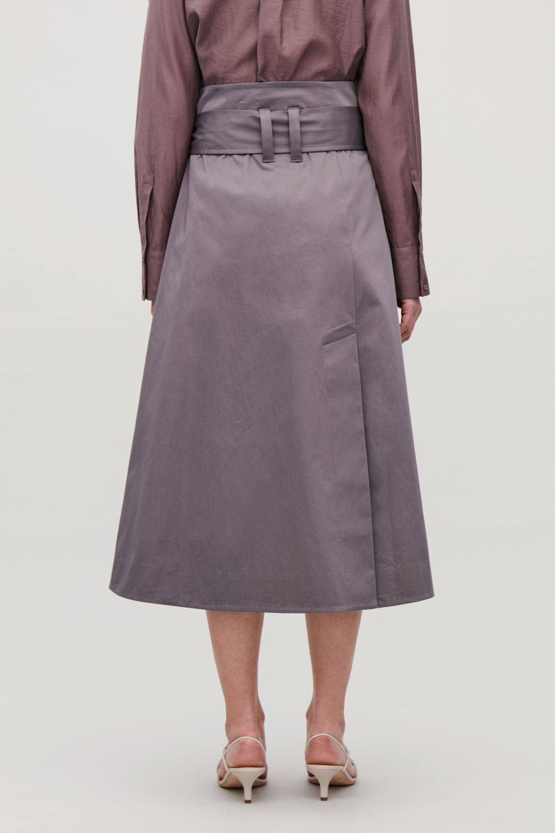 Model side image of Cos belted cotton skirt in purple